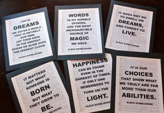 The Wise words of Dumbledore Quote set of 6.    These are fun decorations for Harry Potter Parties and Halloween Parties and any time youd like to get some Geek Chic on!