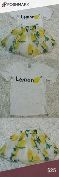 Leighton Alexander Lemon 2 pc set. Kids. Adorable 2 pc set combination of shirt and a skirt.  Shirt have a lemon design  and skirt is layers, when the top layer is delicate fabric with lemons design.  This item is brand new and never used.?? with tags. Leighton Alexander  Dresses