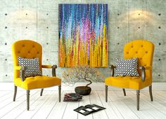 Blue and yellow abstract painting on canvas by Louse Mead. Mustard yellow and navy blue wall art, in situ.