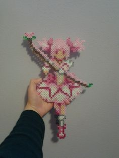 Madoka Magica by TheSleepyBear on Etsy Perler Bead Templates, Diy Perler Beads, Perler Bead Art, Pearler Beads, Hama Beads Design, Hama Beads Patterns, Beading Patterns, Pixel Beads, Fuse Beads