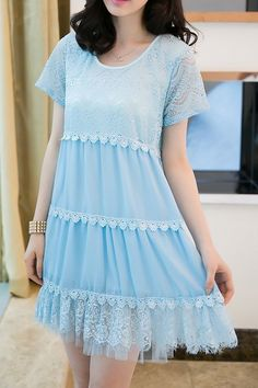 $11.95 Lace Splicing Casual Scoop Neck Lacework Short Sleeve Dress For Women