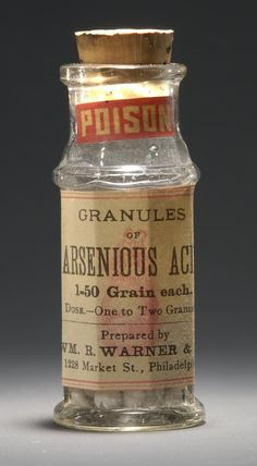 Arsenic was widely used as a medicine in the 19th & 20th centuries. The development of forensic toxicology coincided with the spread of mass-produced & commercially distributed medicines & poisons, & an associated rise in murders & suicides involving those substances.