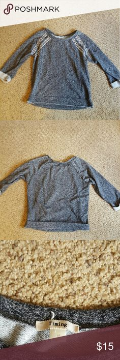 Super cute studded grey sweater Not forever 21, but from a little boutique. Super comfortable and welcome to offers:) Forever 21 Sweaters