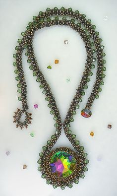 ~~Vitrail Crystal Amulet Beaded Necklace in Greens by gaiasjewels~~