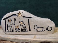 NATIVITY  Engraved Natural Stone Unique Collectable by SandStudios, $65.00