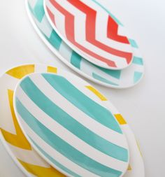 As Seen at 100 Layer Cake- Set of Two Striped Salad Plates- Spring Fling Aedriel Originals Dinnerware Collection. $56.00, via Etsy.