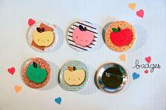 Badges Pomme //// • M a d a m e • R h u b a r b e   illustration   graphisme •