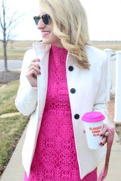 #highheelsandhappyhartz #vday #pink #lace #pumps #heels #winter #white #charmandgumption #mug #blogger #fashion #womensfashion #julesandjulep #blonde #minkpink #shopblossoms #oldnavy #chineselaundry #dachshund #rayban
