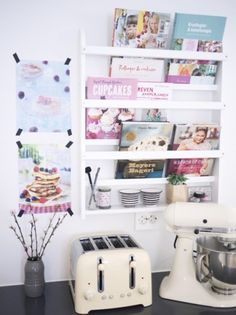 Need to make this for my cookbooks and magazine cookbooks, but painted black for my kitchen, would be so easy to make!