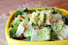"""New recipe! """"Caesar-y Salad,"""" complete with the familiar and amazing flavors of traditional Caesar salad but without the artery-clogging cheese, oil, eggs and anchovies. Check it out, as well as how to create heart-healthy faux Parmesan cheese shavings using jicama!"""