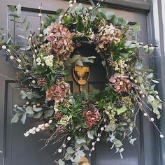 Finally made my wreath this morning! 😀 It's a bit overstuffed as I didn't really know when to stop, and it might fall apart with the slightest breeze but my front door looks festive at last! Christmas Door Wreaths, Autumn Wreaths, Holiday Wreaths, Christmas Decorations, Outdoor Christmas, Christmas Home, Christmas Lights, Summer Wreath, How To Make Wreaths