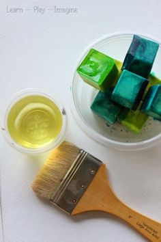 An invitation to paint with ice chalk and oil