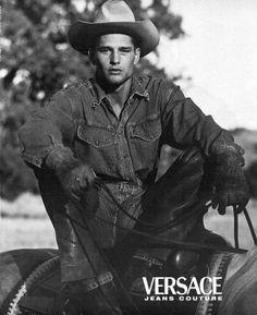 Model Michael Walton shot by Bruce Weber for Versace ads.