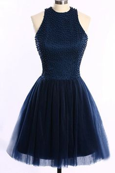 Navy Blue Back O High Neck Short Party Gown Prom Dress Homecoming Dresses LD296