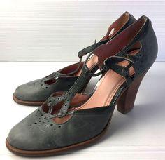 cd1d17171e42 Anthropologie Miss Albright Heels size 10 Grey Leather T-Strap Vintage  Brazil