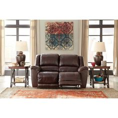 Signature Design by Ashley Yancy Walnut Reclining Loveseat (Reclining Loveseat), Brown (Polyester)