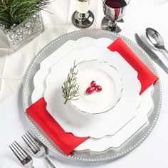 1060 10.75 Inch White Baroque Dinner Plate - lots of styles, linens also.  Purchase vs. rent for rehearsal dinner?