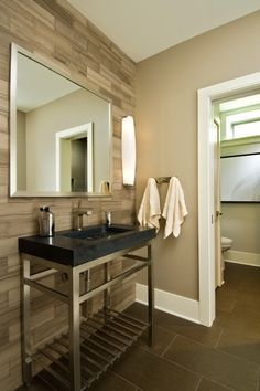 i love the wood wall...this whole bathroom seems so simple & relaxing with its calm colors and earthy textures
