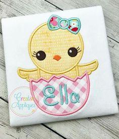 Creative Appliques Baby Girl Chick Egg Applique