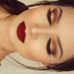 Holiday glam with gorgeous golds and daring reds!