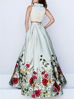 Amazon.com: Lovelybride Elegant 2 Piece High Neck Printed Satin Prom Formal Evening Dress: Clothing