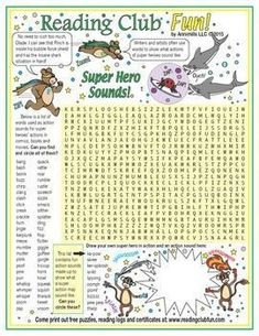 Learn about super hero action words, sounds, and onomatopoeia from comics, books and movies with this word search puzzle!