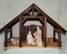 Reclaimed Wood Nativity Stable Creche Handcrafted Manger Barn with side pens - Krippe Christmas Crib Ideas, Etsy Christmas, Christmas Wood, Christmas Projects, Christmas Decorations, Christmas Ornaments, Felt Ornaments, Nativity House, Nativity Stable