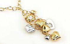 "Zlatý náhrdelník,,Fashion heart affair"" bielo žltá"