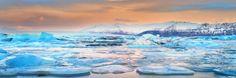Jokusarlon glacier lagoon during sunset Iceland Landscape, Photography Workshops, Day For Night, Milky Way, Night Skies, Sunrise, Sunrises, Sunrise Photography, Rising Sun