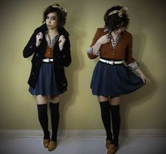 adore the thigh highs, oxfords, and skirt combination. Colours work well and I love the bow that tops it all off!