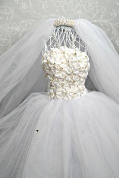 White Bride Dress Form Mannequin Wire Dress by MoreFriendsAndCo