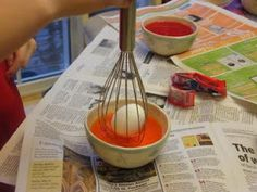 Easter egg dyeing with a whisk...not messy and good for young ones too!  ... also idea for adding glitter