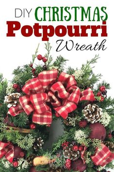 Make a sweet smelling DIY Christmas Potpourri Wreath using store bought potpourri, ribbon and silk flowers. DIY crafts tutorial by Southern Charm Wreaths Christmas Diy, Christmas Wreaths, Christmas Decorations, Holiday Decor, Winter Holiday, Christmas Recipes, Holiday Crafts, Farmhouse Side Table, Farmhouse Decor