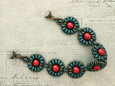 Linda's Crafty Inspirations: Bracelet of the Day: Roulette Bracelet - Teal & Red