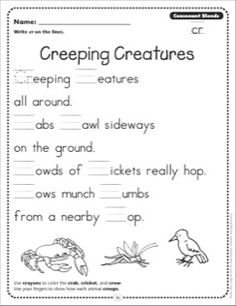 Creeping Creatures (Consonant Blends - cr): Phonics Poetry Page
