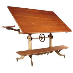 Exceptional Antique Cast Iron Drafting Table By Keuffel U0026 Esser