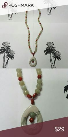 Natural Green & Rust Bead Necklace, J518 Beautiful Semi Precious stone beads with Stone Pendant Hand Crafted Artisan Jewelry Necklaces