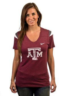 Texas A Aggies Womens Red Logo V-Neck Nike Shirt    http://www.rallyhouse.com/shop/texas-am-aggies-nike-texas-am-aggies-womens-red-logo-vneck-nike-shirt-5542056    $39.99