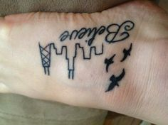 Chicago Skyline tattoo I don't like the birds but the rest is kinda cool