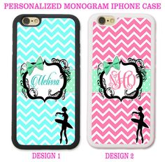 BLUE PINK CHEVRON BALLERINA PERSONALIZED MONOGRAM PHONE CASE FOR IPHONE 6 7 SE 5…