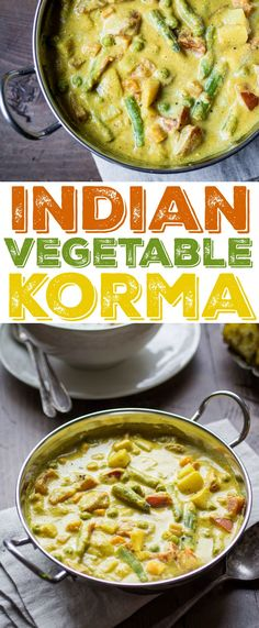 This delectable Indian Vegetable Korma is loaded with potatoes, tomatoes, carrots, peas, and green beans. Make sure you have plenty of naan to dip in the creamy coconut sauce! (food to make coconut milk) Veg Recipes, Asian Recipes, Cooking Recipes, Healthy Recipes, Vegan Indian Food, Indian Vegetarian Recipes, Indian Vegetable Recipes, East Indian Food Recipes, Coconut Milk Recipes Indian