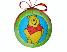 Winnie The Pooh Christmas Holiday Ornament Unique by craftcrazy4u, $13.00