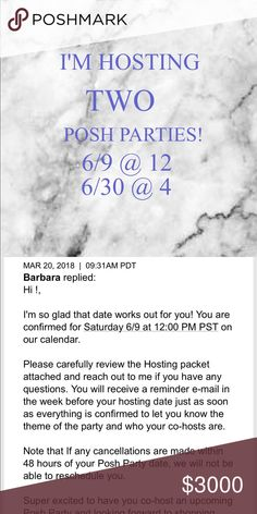 ✨IM HOSTING TWO POSH PARTIES IN JUNE!!✨ Parties to be announced!!  6/9 at 12 pm 6/30 at 4 pm COME HANG OUT WITH ME!!❤️ Share your listings to my closet and show me some of your favorite closets!  Anyone who purchases from my closet until then will get a host pick❤️❤️❤️ Other