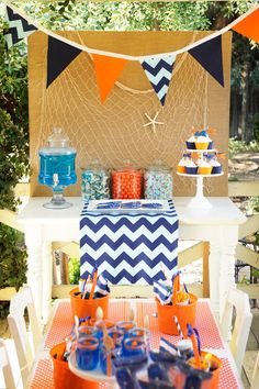 Raider Party.. Blue Orange and white could do Blue orange and Gray [Celebrate] Preppy Whale Party