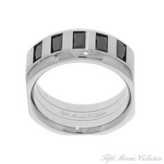 Pure Steel - The polished stainless steel and black cubic zirconia in this masterfully designed ring are a run-away success... just like the man who wears it.