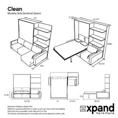 outline-wall-bed-clean-sectional - May 18 2019 at Expand Furniture, Folding Furniture, Buy Furniture Online, Smart Furniture, Space Saving Furniture, Furniture Deals, Furniture Layout, Colorful Furniture, White Furniture