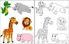 Dibujos infantiles de animales para colorear, jirafa, rinoceronte, cocodrilo, hipopótamo y león Pixar, Phineas Y Ferb, Disney, 1, Snoopy, Fictional Characters, Vestidos, Animal Drawings, Rhinos