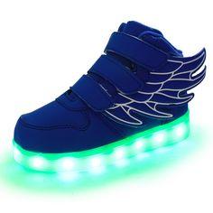 Azul Zapatillas Con Luces LED y Alas Niños