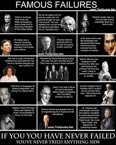 Famous 'failures' is a slightly ridiculous concept when tied to the idea of 'success'. The cases above are famous people who have succeeded and have experienced some sort of…