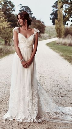 anna campbell 2018 bridal cap sleeves sweetheart neckline heavily embellished bodice romantic soft a line wedding dress open v back sweep train (5) mv -- Anna Campbell 2018 Wedding Dresses
